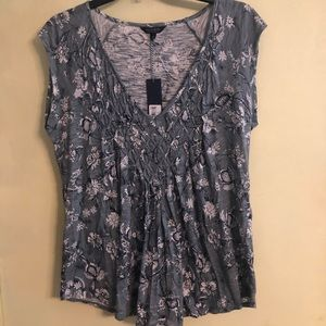 NWT Lucky Brand Teal Floral Blouse